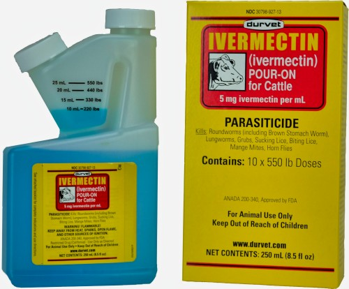 Durvet Ivermectin Pour On For Cattle, Cows 250mL  Free Shipping  FDA Approved 1